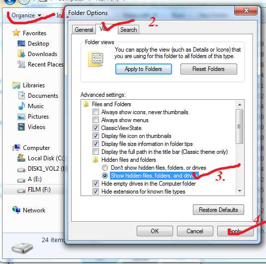 windows 7 show hidden files