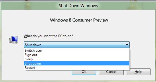 windows 8 choose options from dropdown ALT + F4