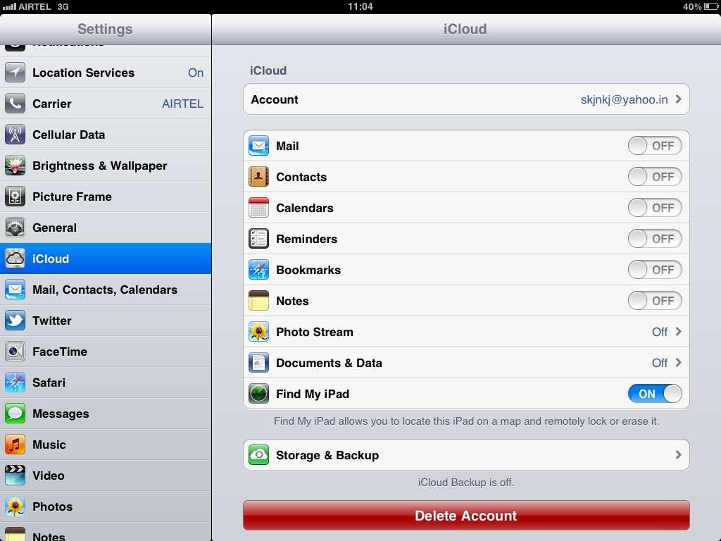Select what you want to sync with icloud on your iPad or iPhone