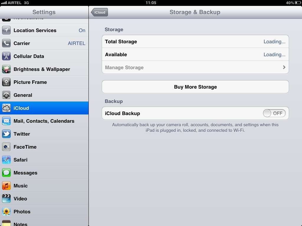 Available Space or Buy More Storage on iCloud