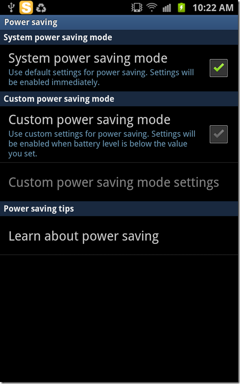Samsung Galaxy Note Sytem Power Saving Mode