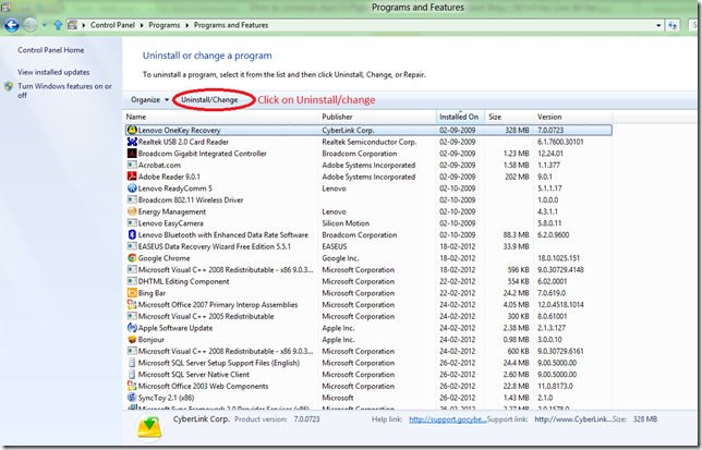 Uninstall software from windows 8