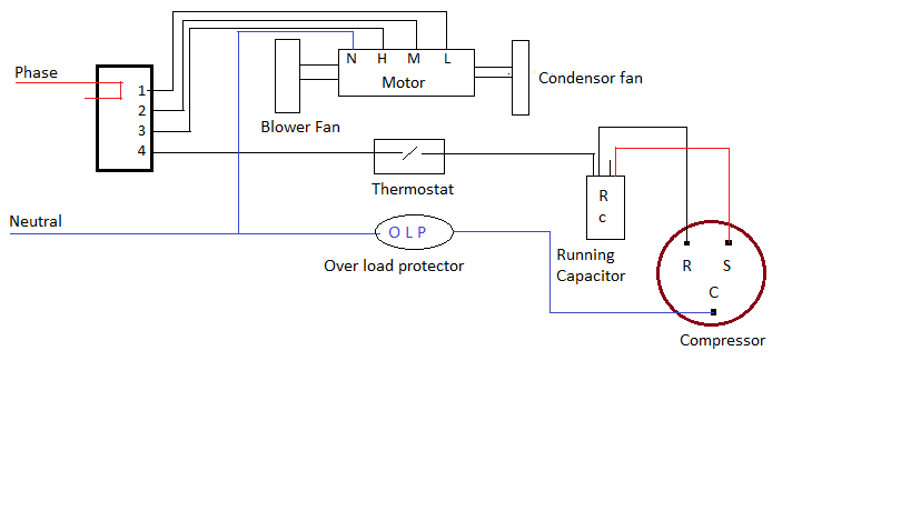 PSC circuit1 voltas air conditioner wiring diagram wiring diagram simonand split ac wiring diagram at gsmx.co