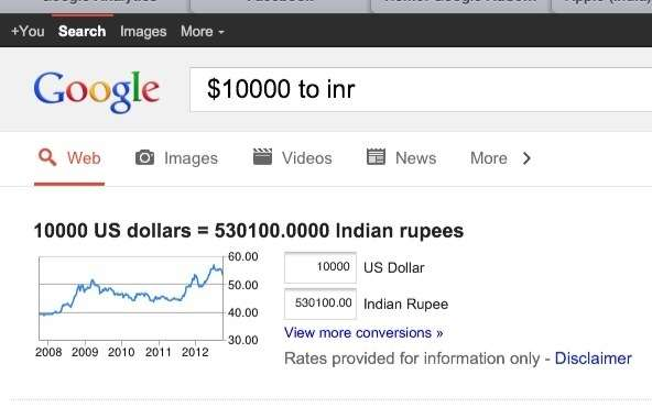 $ to inr