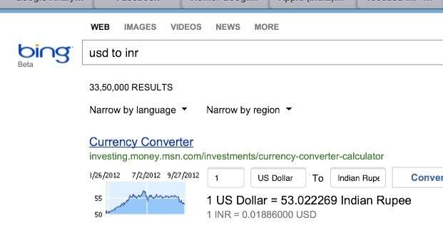 use bing for currency conversion rates
