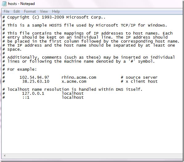 windows hosts file for block a webiste