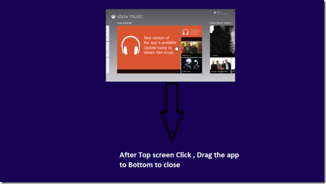windows 8 close app by Dragging