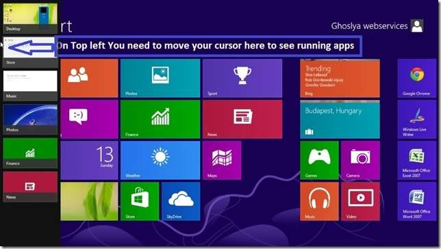 windows 8 close app by Top Left View