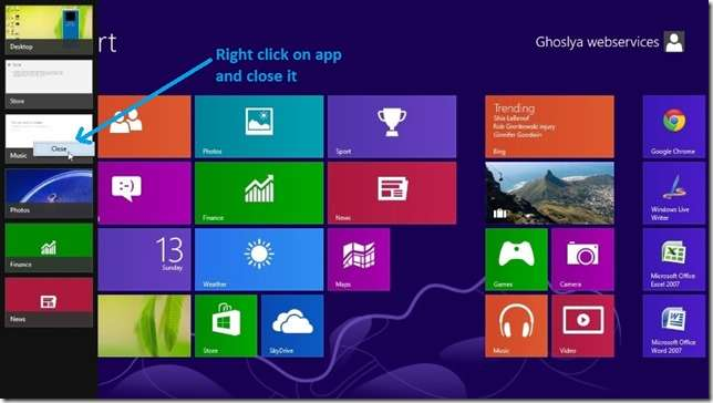 windows 8 close app by Top Left View and close app