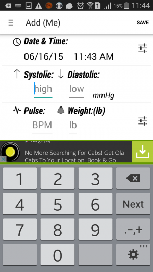 Blood Pressure (BP) Watch- adding BP measurings personal diary app