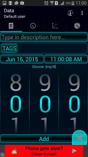 Diabetes – Glucose Diary adding entries
