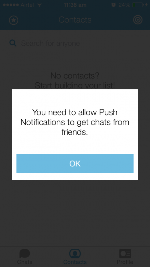 jott messenger app screen for asking permission for chat notifications