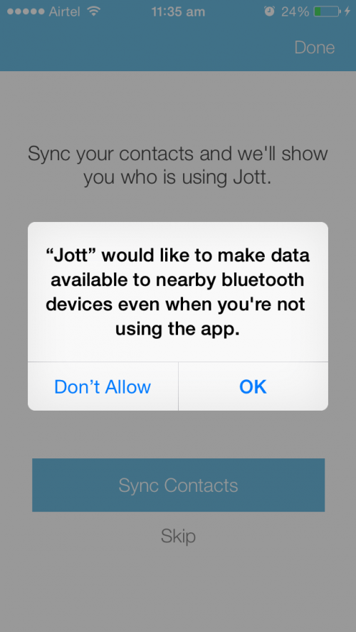 Jott messenger screen for bluetooth connectivity and sharing permission