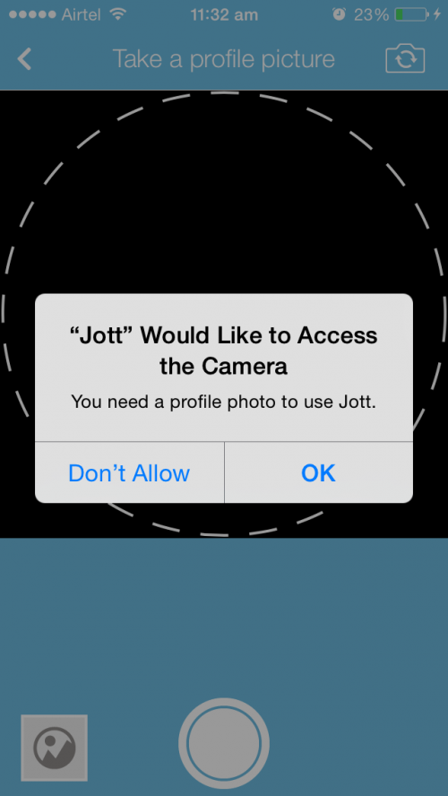 Jott messenger screen for setting profile image using camera