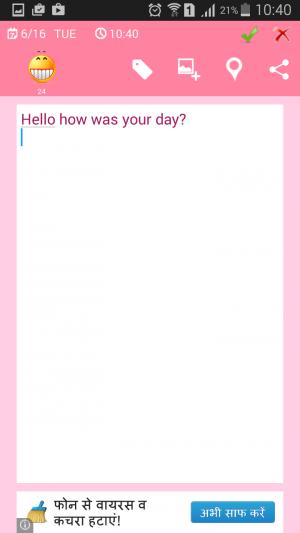 Photo diary app Note editor look
