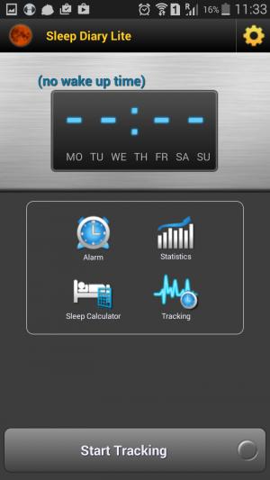Sleep Diary Lite main screen personal diary app