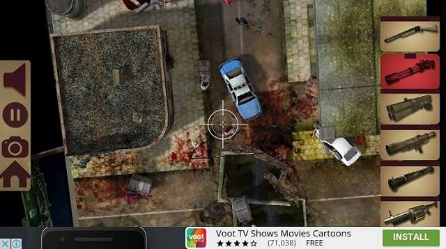 Playing screen zoomed TableZombies Augmented Reality Game